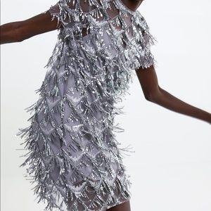 Zara fringed Sequin mini Dress sz:L